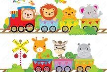 animales en tren bebe