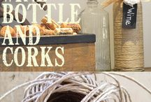 twine wrapped wine bottles and corks