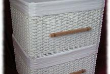 košíky pletení z papíru