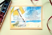 Beach / Nautical Watercolor Wedding Invitation