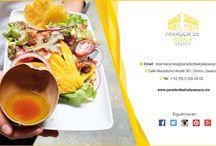 Ven a comer una fresca Ensalada de Frutos Secos Gouda y Mango.