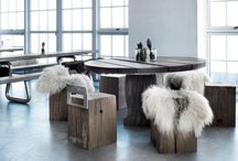 THORS-DESIGN: Round tables / All furniture from THORS-DESIGN is made from reclaimed antique wood from Danish harbours. Every piece is made to order and unique
