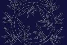 sashiko - moderní, květy