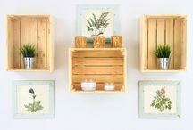 Skrzynki / Kompozycje ze skrzynek drewnianych