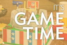 It's Game Time / Game day sweets for every sports fan. Includes NFL football cakes and Homegating ideas, plus baseball, basketball, hockey, soccer, golf, cheerleading cakes and more.