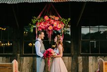 hanging instillations and floral chandeliers