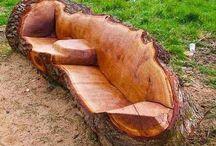 lavička z kmeňa