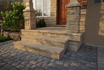 Interlocking Driveway with Softscape and Flagstone Front Steps