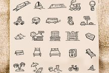 Icons hand drawn