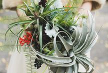 Bo-ho bouquets / These bouquets have a 'messy' informal feel created with tendrilly greenery & an eclectic mix of blooms & textures & the addition of unusual or surprising elements (seed pods, feathers)