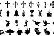 Easter Silhouette Vectors / All these 65 Easter Silhouette Vectors are for your Easter special designs amazingly done by our designers. Cross, rabbits, bells, bird with leaves, Easter bunnies, Jesus Christ, Church, chicken and many more