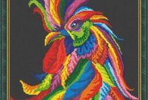 Cross stitch ~ Rainbow style.