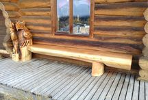 You've Been Benched! / Take a closer look at the beautiful benches carved by Ryan Cook and Dean Ross for Pioneer Log Homes of British Columbia.