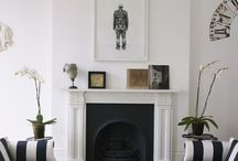 Black and White Fireplace Area