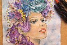 Markers-acuarelas / Dibujos coloreados con markers, acuarelas, distress,...