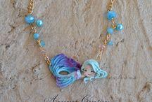 polymer clay mermaid pendant