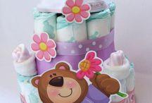 Plienkové torty pre dievčatko / Originálne a trendy plienkové torty - ideálny darček na krstiny, narodeniny alebo len tak - pre radosť bábätka i mamičky :)