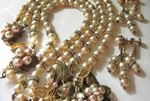 Miriam Haskell Baroque Pearl with Butterflies Filigree Necklace Set