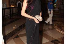 Drishti Fabulous Black Chiffon Bollywood Replica Saree - Designer Saree   Zakasi.com