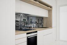 nowoczesne mieszkanie /drewno/ / jasne mieszkanie, drewno, nowoczesna zabudowa, kolorowe akcenty, inspiracje, wnętrza