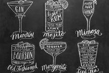 Cocktails auf Tafel