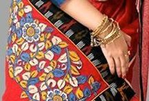 ikat patchwork saree