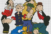 Cartoons - Popeye, cross stitch freebies