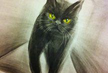 Black cat and other animals / Обожаю рисовать животных карандашами, маслом, акварелью. Коллекция постоянно пополняется. Заходите почаще!