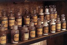 Old medicin in bottles and jars