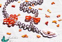 Collana con cammeo pittoresco arancione