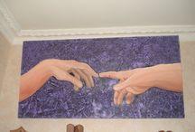 Les mains... / Tableau peint en acrylique, peinture à l'huile. Idée originale