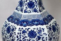 porcelana  pintada em azuis