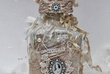 Shabby Chic altered bottles