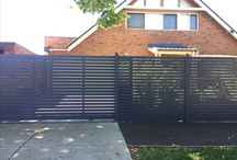 Fence/Gate Design Inspo / I think a vertical fence would work. Seems to be what matches and contrasts a weatherboard home.  Also, if we keep it timber and under 1.5m there's no need for a permit.  Fence Fence 8.4mt 1.6mt 13.7mt total  Gate... Side gate...