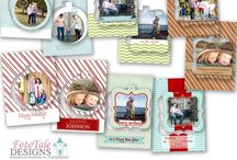 Christmas Templates / Custom, Professional Christmas Card Templates for Photographers and Designers.  Fully layered, Photoshop .psd files.  Also CD Labels, Facebook Timeline Covers, Wallets and other holiday coordinating designs.