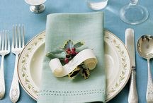 Place settings and food