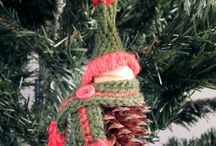 crocheted pinecone gnome Christmas elf ornament decoration