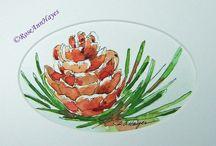 painting - pinecones, trees