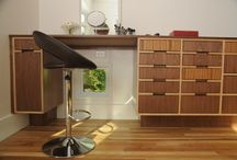 Modern Cutting Edge Cabinetry by Hartert-Russell / Walnut and Zebrawood Modern Cabinets