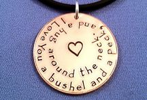 Hand-Stamped Jewelry / Sterling Silver Hand-Stamped Jewelry. Each letter is individually hammered.