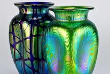 Loetzglas / Loetz glas+ div blauw glas, Tokuda