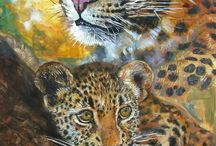 Wildlife art from South Africa / wildlife paintings by South African artist Phillip Steyn paints Lions Leopards and Big cats olifant clydesdale cheetha