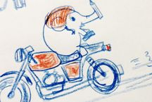 Pencil sketches Elephant and Motorcycle