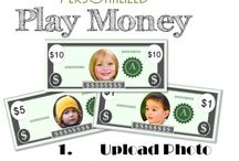 Play Money / Free printable play money that can be personalized with your child's photo.
