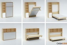 Space saving fold up beds and desk for kids