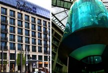 AquaDome Berlin / The largest cylindrical aquarium in the world. Inside of Radission Blue Hotel.