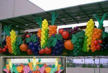 balloon fruit & vegies decor / by Linda Antpusat