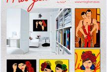 Mis Gitanas -Láminas- / Láminas Mis Gitanas enmarcadas en aluminio. Pinturas llevadas a colores planos. Decorar con Arte Flamenco Aluminun framed Flamenco Art Prints Flamenco Art Decoration