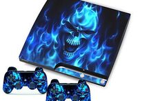PS3 sticker fire stickers (blue)