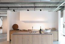 Kitchen - White concrete and wood